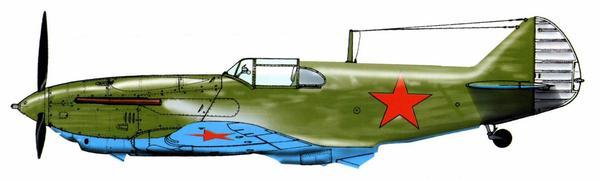 ЛаГГ-3, выпущенный заводом №31 в мае 1941г. и потерпевший аварию 9 июля. Сквозь небрежную окраску кистью просвечивает грунтовка алюминиевым лаком.