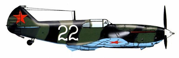 ЛаГГ-3 в нестандартном «полосатом» камуфляже, характерном для Ленинградского фронта, сентябрь 1941г.