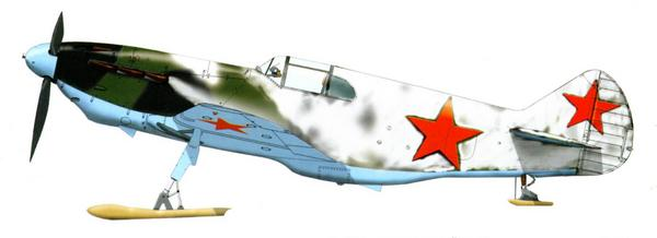 ЛаГГ-3 в зимней окраске на лыжах, 5-й гв. иап, Калининский фронт, 1942г.