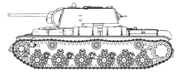 Танк КВ-1 со сварной башней выпуска ноября — декабря 1941г. Машина имеет катки с внутренней амортизацией, кормовой лист гнутый.