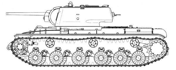 Танк КВ-1 с литой башней выпуска января — мая 1942г. Машина имеет цельнолитые катки, кормовой лист прямой.