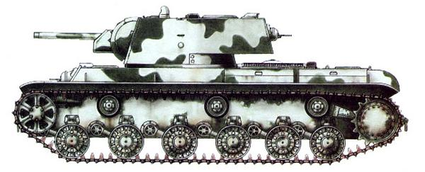 Танк КВ-1 из состава 123-й танковой бригады. Ленинградский фронт, зима 1941 года.