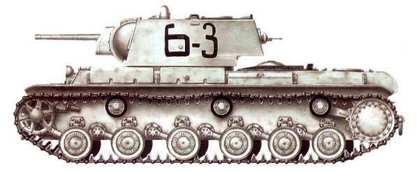 КВ-1 из состава 124-й танковой бригады полковника А.Родина. Ленинградский фронт, зима 1941 года.