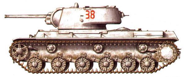 Тяжелый танк КВ-1 из состава 12-го гвардейского танкового полка 1-й гвардейской мотострелковой дивизии. Западный фронт, февраль 1942 года.