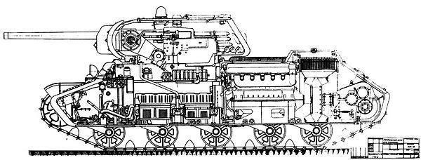 Копия заводского чертежа с продольным разрезом танка КВ-13.