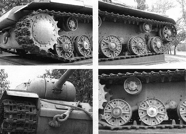 Фрагменты корпуса и ходовой части первого экземпляра танка КВ-85, установленного в качестве памятника в Автово (Санкт-Петербург).