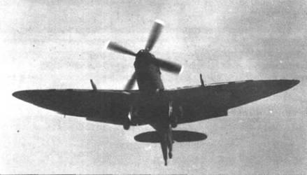 Вместе с летчиками 808-й эскадрильи в начале 1944г. «Сифайры» LII осваивали пилоты 807-й эскадрильи, которая входила в №4 NFW. Самолеты 4-го морского истребительного крыла базировались в апреле 1944г. на авианосцах «Хантер», «Аттакер» и «Сталкер». «Сифайр» заходит на посадку на авианосец.