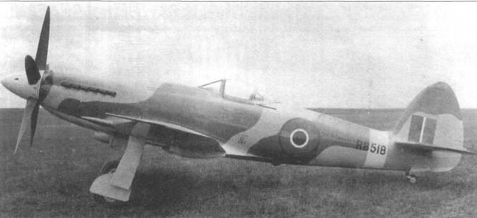 Единственный «Спайтфул XVI» (RB518) в варианте с двигателем «Гриффон 101». Позднее на самолет поставили «Гриффон 121», с которым истребитель развил горизонтальную скорость 795км/ч.