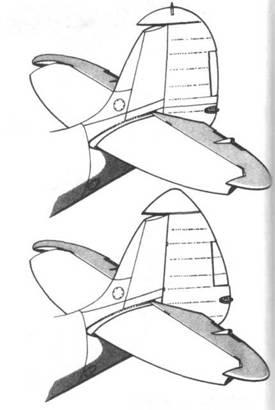 Вверху: киль ранних Mk VIII