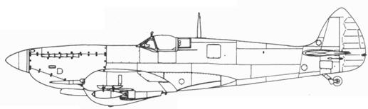 Spitfire LF. IXC поздних серий с подвесным баком на 90 галлонов