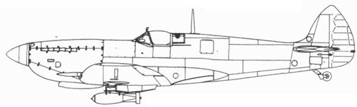 Spitfire LF. IXE/LF. XVIE поздних серий с топливным баком за кабиной и 500-фунтовой бомбой