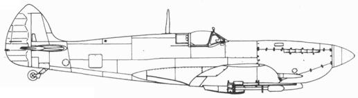 Spitfire LF. IXE/LF. XVIE ранних серий с ракетами