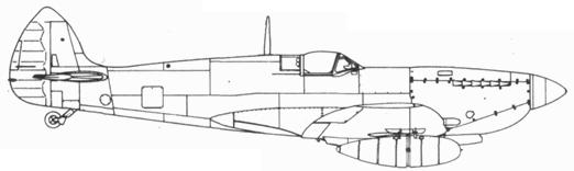 Spitfire LF. IXC №МК210 с радиокомпасом и 60-галлонными подвесными топливными баками во время испытаний в США