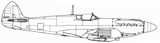 Spitfire F. XII поздний серийный с конформным боком на 30 галлонов (150 л)