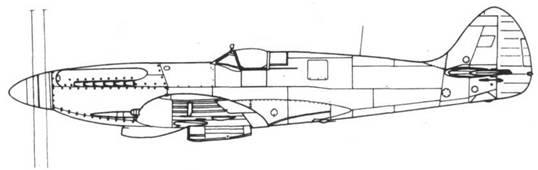 Spitfire F. XIV один из прототипов со сдвоенным винтом — поздний вариант