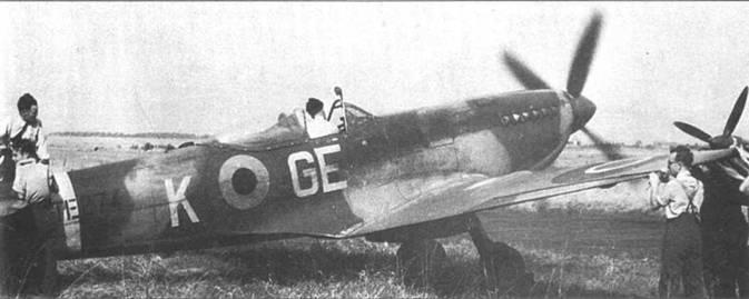 «Спитфайр» LF Mk XVI (TE274/GE-K) из 349-й эскадрильи 1- истребительного крыла ВВС Бельгии, послевоенный снимок.