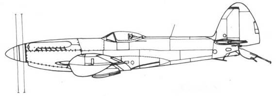 Seafire F. 47 серийный, под крыльями — два бака по 22,5 галлона (103 л)