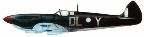 """«Спитфайр VIII» (А58-480, бывший JG652/DL@Y), 54-я эскадрилья. Дарвин, Австралия, конец 1944 года. Эта английская эскадрилья базировалась в Австралии и использовала характерный камуфляж: сверху зеленый, снизу светло-голубой. почти белый. Код эскадрильи """"DL"""" сделан серой краской, а код самолета """"К"""" — белой."""
