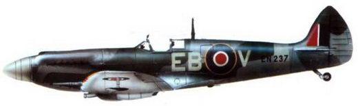 «Спитфайр XII», (EN237/EB@V), 41-я эскадрилья, Ферстон, май 1943 года. На самолете летал командир эскадрильи Том Нилл. Иногда самолет пилотировал летный офицер Ежи Солак.