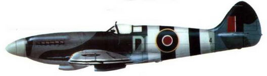 «Спитфайр XIV» (DL@?), 91-я эскадрилья, Уэст-Моллинг. июнь 1944 года. Самолет с полным комплектом опознавательных знаков периода высадки в Нормандии. Код и серийный номер почти полностью закрыты полосами.