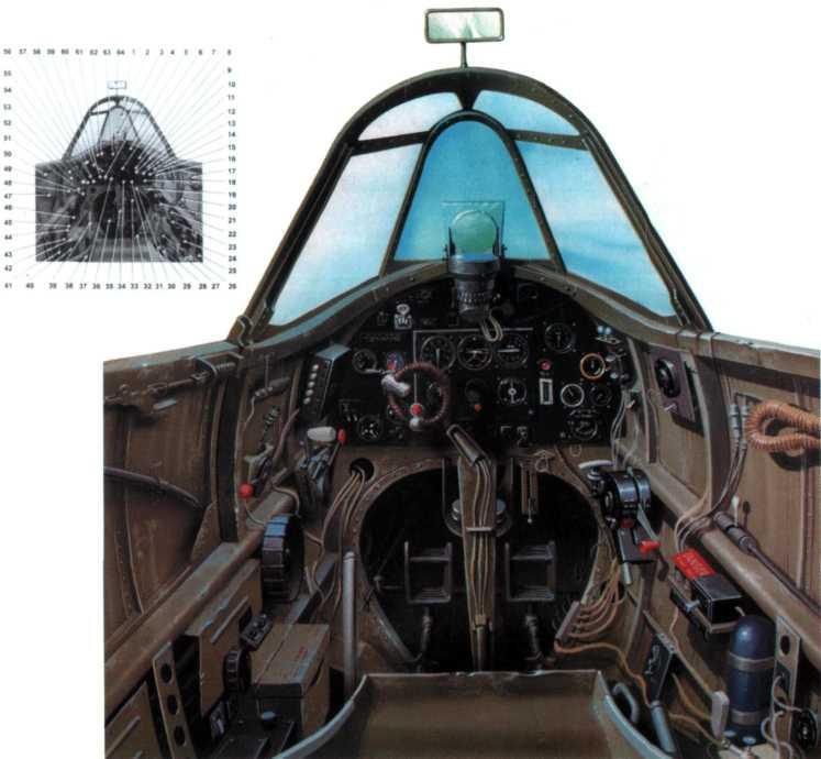 Кабина пилота «Спитфайра F.XII». 1. Рама фонаря. 2. Встроенное лобовое стекло. 3. Коллиматорный прицел. 4. Спуск пушек и пулеметов. 5. Вольтаметр. 6. Главная приборная доска (сверху вниз, справа налево): спидометр, искусственный горизонт, вариометр, альтиметр, компас, курвиметр с инклинометром. 7. Тахометр. 8. Предупредительная лампочка датчика давления во впускном тракте. 9. Запасные лампы для коллиматорного прицела. 10. Указатель давления масла. 11. Указатель давления во впускном тракте. 12. Указатель температуры масла. 13. Переключатель сигнализации. 14. Разъем с переключателем. 15. Указатель температуры радиатора. 16. Включатель радиопосадочного устройства. 17. Шланг кислородной маски. 18. Уровень топлива. 19. Бензонасос. 20. Замок ремней кресла. 21. Ручка выпуска/уборки шасси. 22. Кнопки самоликвидатора IFF. 23. Включатель системы IFF (свой-чужой). 24. Баллон с углекислым газом для аварийного выпуска шасси. 25. Кран кислородной системы. 26. Кран системы антиобледенения фонаря. 27. Насос системы антиобледенения фонаря. 28. Ручка регулировки кресла пилота. 29. Ручка сброса подвесного бака. 30. Тяга <a href='https://arsenal-info.ru/b/book/887674952/20' target='_self'>перезарядки</a> пиротехнического стартера. 31. Кнопка стартера. 32. Регулятор педалей. 33. Главный бензокран. 34. Переключатель подсветки кабины. 35. Ручка управления. 36. Педали. 37. Рукоятка ручки управления. 38. Кресло пилота. 39. Ручка регуляции воздушного потока через радиатор. 40. Предупреждающая лампочка. 41. Включатель системы разжижения масла. 42. Карман для карт. 43. Ручка регуляции триммера руля направления. 44. Включатель подогрева трубки Пито. 45. Включатель фотопулемета. 46. Ручка регулировки триммера руля высоты. 47. Лом. 48. Ручка регулировки наддува. 49. Регуляторы хода ручки газа и переключателя шага винта. 50. Блокиратор дверцы. 51. Включатель звуковой сигнализации положения шасси. 52. Гнездо подключения указателя расхода пленки в фотопулемете. 53. Подсветка. 54. Ручка газа. 55. Руч