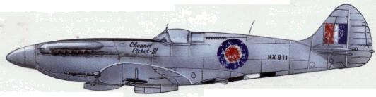 Полированный «Спитфайр» Мк. XIV из «Соединения X» — охотник за V-1 (9 свитых ракет. Экипажи сменные. 1944г.)