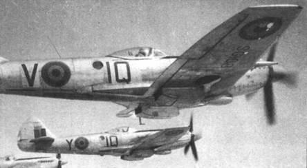 В конце 40-х годов довольно много «Спитфайров» Mk XIV (132 самолета) состояло на вооружении ВВС Бельгии, как в истребительных частях первой линии, так и в учебнотренировочных подразделениях. На снимке — три учебных истребителей из Ecole de Chasse, серийные номера SG108 (прежний ТР789), SG112 и SG117/IQ-M.