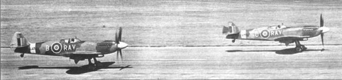 Пара «Спитфайров» F.21 из 615-й эскадрильи (County of Surrey) взлетает с аэродрома Бигген-Хилл. В Бигген-Хилле в июле 1948г. проходило переформирование эскадрильи. Слева — RAV-B/LA-313, справа — RAV-A/LA-191.