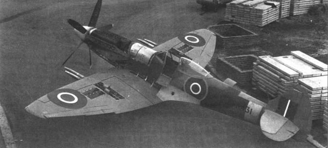 «Препарированный» РК-341 — «Спитфайр» F Mk 22 из третьей производственной партии. Снимок сделан на заводском аэродроме в Кастл-Брумвич. Хорошо видно крыло с нестандартным расположением пушек.