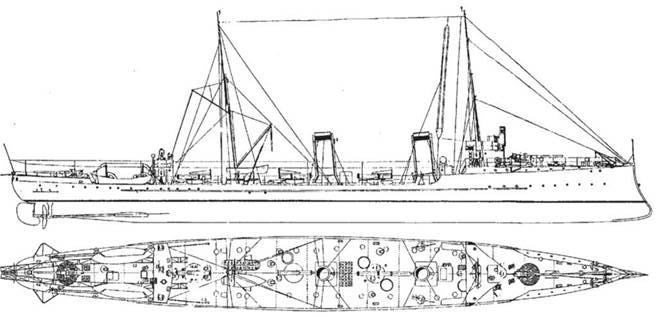 """Эскадронный миноносец """"Сибирский Стрелок"""". 1911г. (Наружный вид и вид сверху)"""