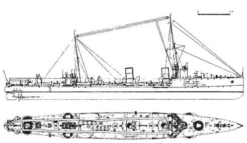 """Эскадренный миноносец """",Лейтенант Шестаков"""", 1909 г. (Наружный вид и вид сверху)"""