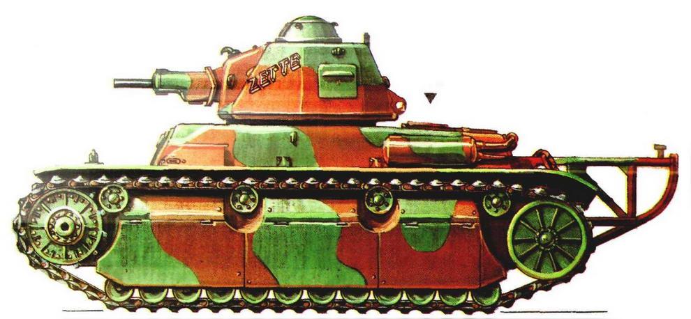 Легкий танк R40. 48-й танковый батальон (48 ВСС) 2-й <a href='https://arsenal-info.ru/b/book/1627328415/38' target='_self'>танковой дивизии</a> (2 DCR),Франция, май 1940 г.