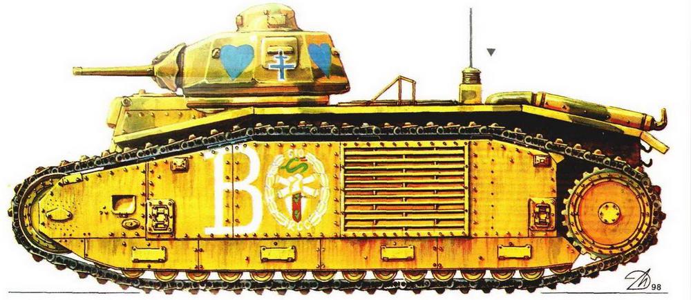 Тяжелый танк В1 bis. 510-й <a href='https://arsenal-info.ru/b/book/1627328415/40' target='_self'>танковый полк</a> (510 RCC), Франция, 1940 г.
