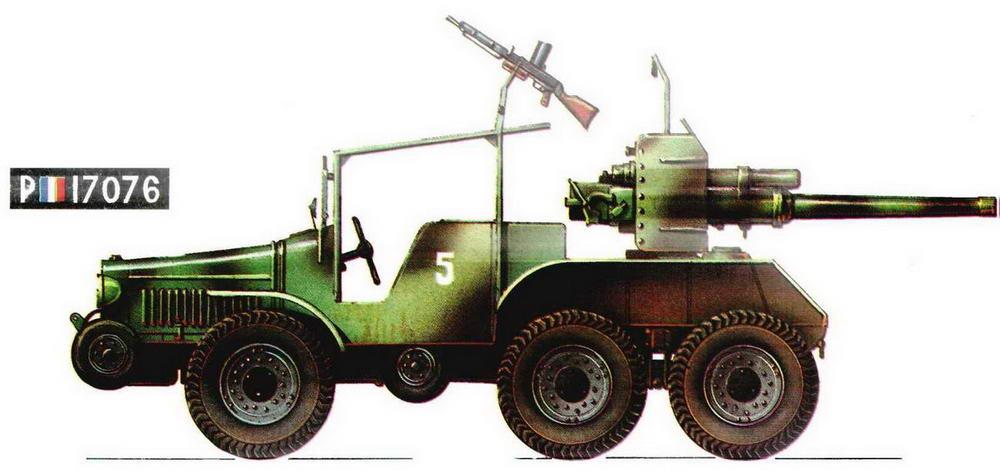 Самоходная артиллерийская установка Laffly W15TCC. 4-я танковая дивизия (4 DCR), Франция, 1940 г.