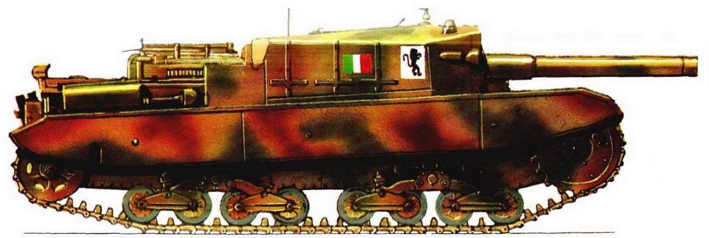 Самоходная артиллерийская установка Semovente Da 1 05/25. Танковая группа «Леончелло» (Leoncello), вооруженные силы Итальянской фашистской республики Сало (RSI), Италия, 1944 г.