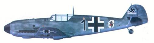 Bf 109Е комэска 5./ JG 51 гауптмана Хорста Тицена, август 1940