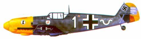 Bf 109Е-4 комэска 7./ JG 2 оберлейтенанта Вернера Макхольда, Франция,сентябрь 1940