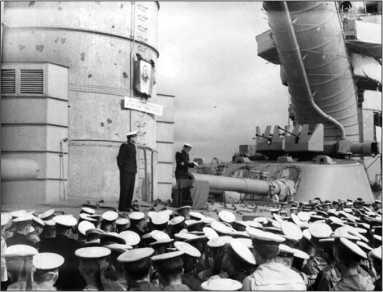 Линкор «Октябрьская Революция». Траурный митинг по случаю смерти А.А. Жданова, 1 сентября 1948г.
