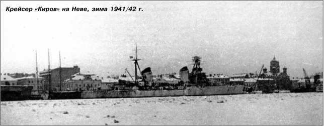 Крейсер «Киров» на Неве, зима 1941/42г.