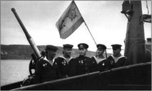 Краснознаменный военно-морской флаг ПЛ Щ-404, октябрь 1943г.