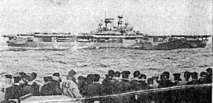«Wasp» в Атлантике, март 1942г. Он окрашен по модифицированной камуфляжной схеме для действий на Средиземноморье