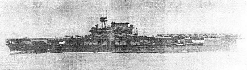 «Yorktown» около 14:00 4 июня 1942г. перед атакой на •Hiryu»