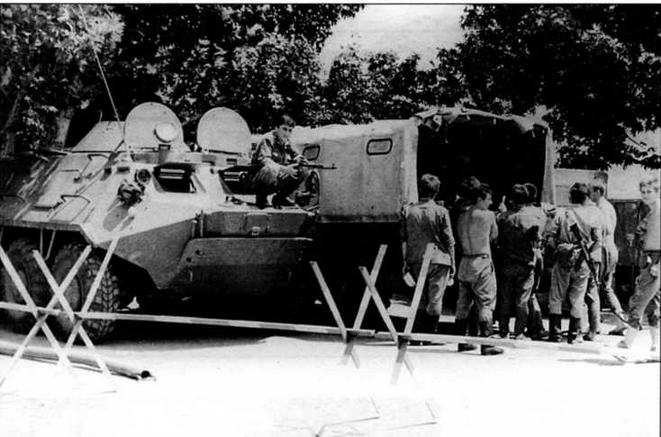 БТР-60ПБ на блок-посту Советской Армии в г.Мегри на границе Армянской ССР и Нахичеваньской АССР, 1990 год