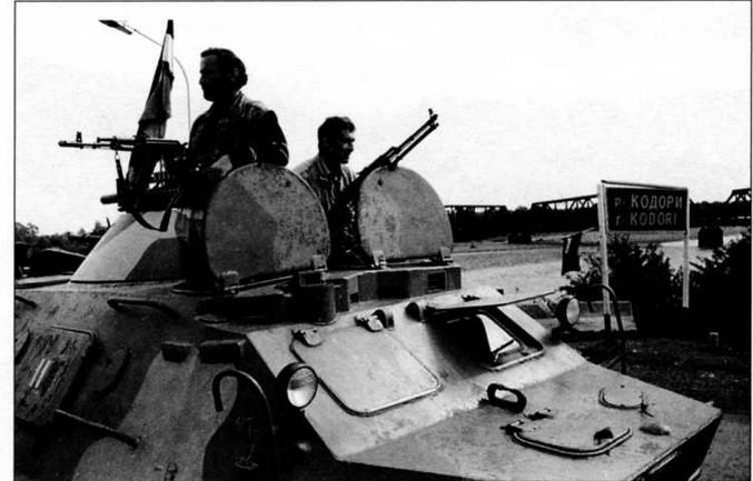 Бронетранспортер БТР-60ПБ грузинских войск на берегу р.Кодори. Абхазия, октябрь 1992 года