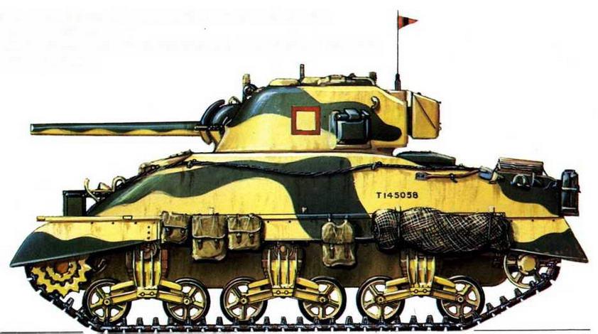 """М4А1. Эскадрон """"Б"""", полк Ловчих Королевы, 2-я танковая бригада, 1-я английская танковая дивизия"""