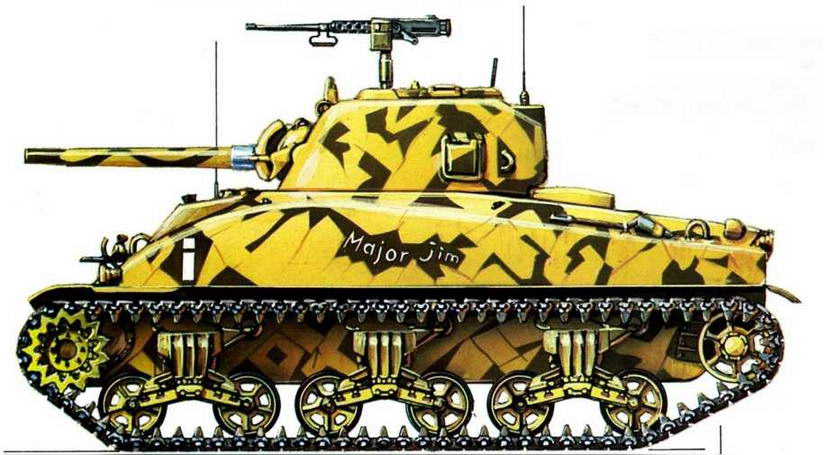 М4А1. Штабная рота 2-го батальона, 13-й танковый полк, 1-я американская танковая дивизия (HQ Со,, 2nd Bn., 13th Armored Regiment, 1st Armored Division), Тунис, февраль 1943 г.