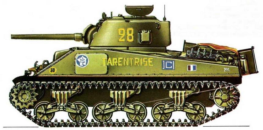 "М4А2. 2-й эскадрон, 12-й полк африканских стрелков, 2-я французская танковая дивизия (2е Escadron, 12е Regiment de Chasseurs d'Afrique, 2e Division Blindee), Нормандия, участок ""Юта"", 2 августа 1944 г."