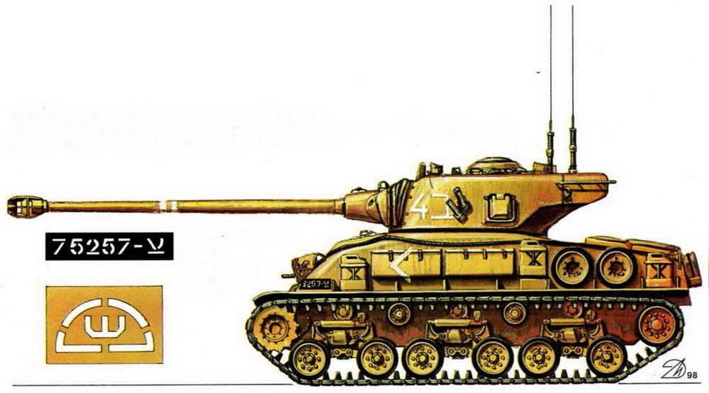 M51HV. Танковая бригада полковника М.Зиппори, дивизионная тактическая группа генерала А.Шарона, Армия обороны Израиля (Zippori Brigade, Ugdat Sharon), Синай, июнь 1967 г.