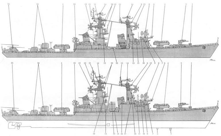 Схема общего вида РКР Грозный но состоянию на 1974 г. и (вверху) и после модернизации (внизу):