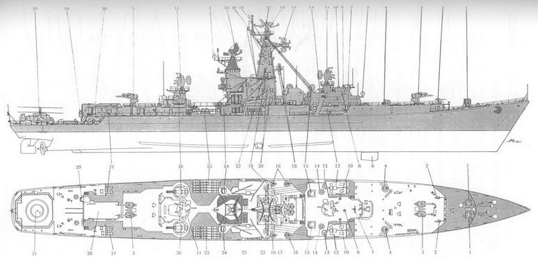 Схема общего вида РКР Вице-адмирал Дрозд после модернизации: